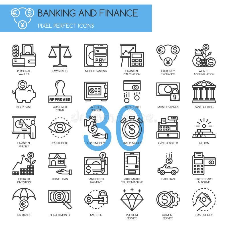 Banques et finances, ligne mince icônes réglées illustration de vecteur