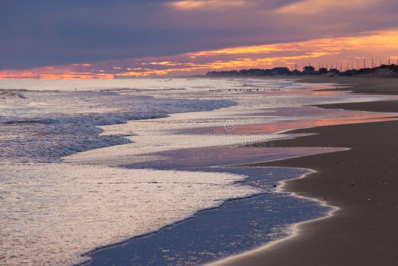 Banques externes OBX la Caroline du Nord Etats-Unis de coucher du soleil de plage image libre de droits