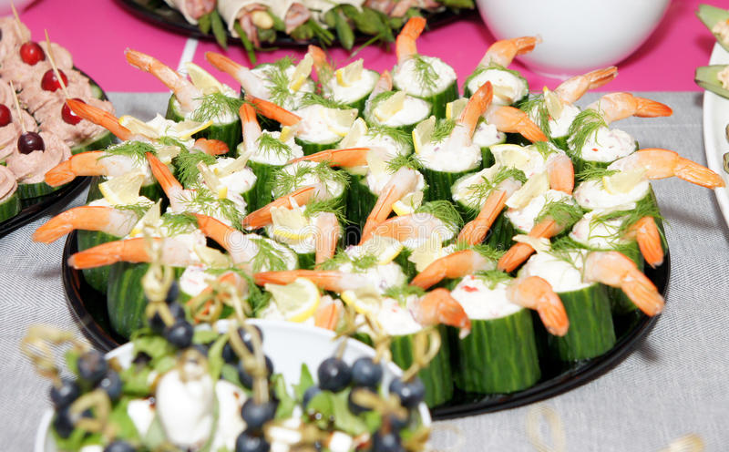 Banquet appetizing food. Detail on Banquet appetizing cucumber food stock photography