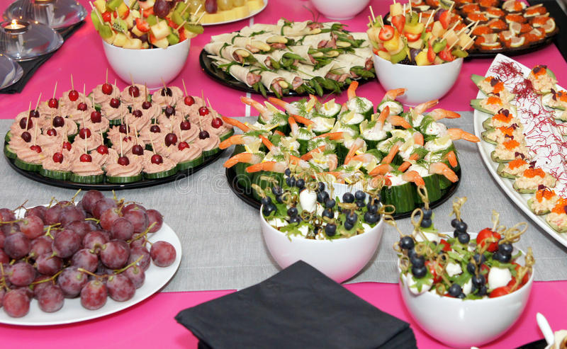Banquet appetizing food. Celebration party food styling stock photos
