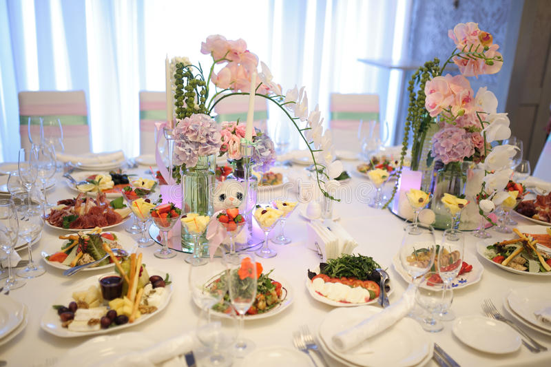Banquet Birthday Table Setting Stock Image - Image of birthday ...