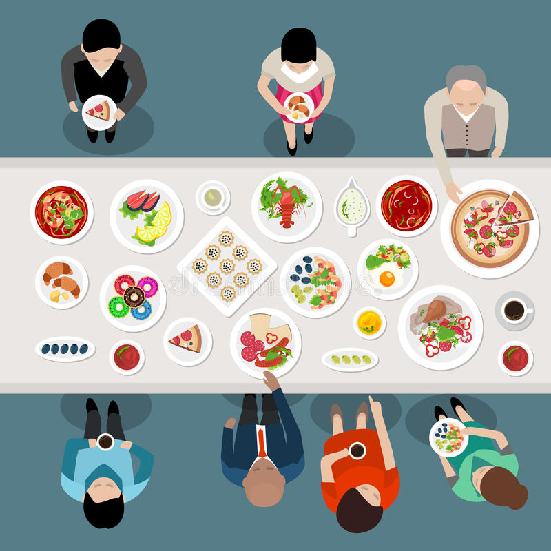Banquet Catering Party Top View stock illustration