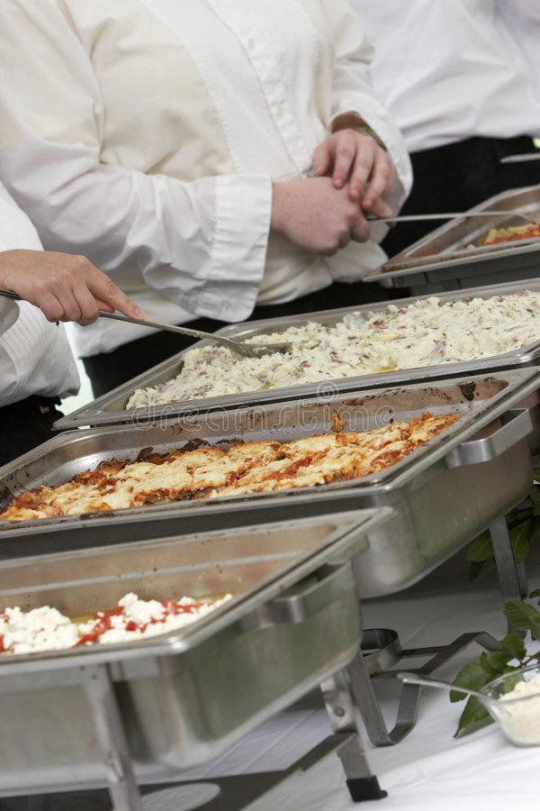 Banquet food. Food being served at a wedding event, buffet style stock photo