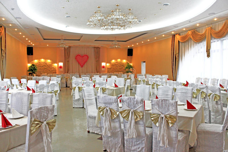 Banquet hall. For wedding celebration royalty free stock photo