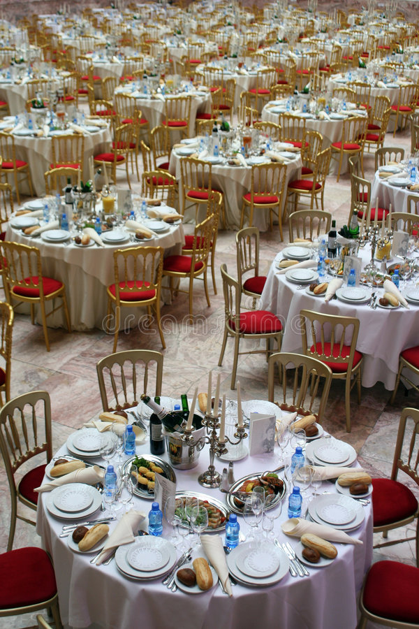 Banquet hall. Huge banquet hall prepared to dinner stock images