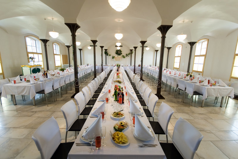 Banquet hall. With food and planes stock photography