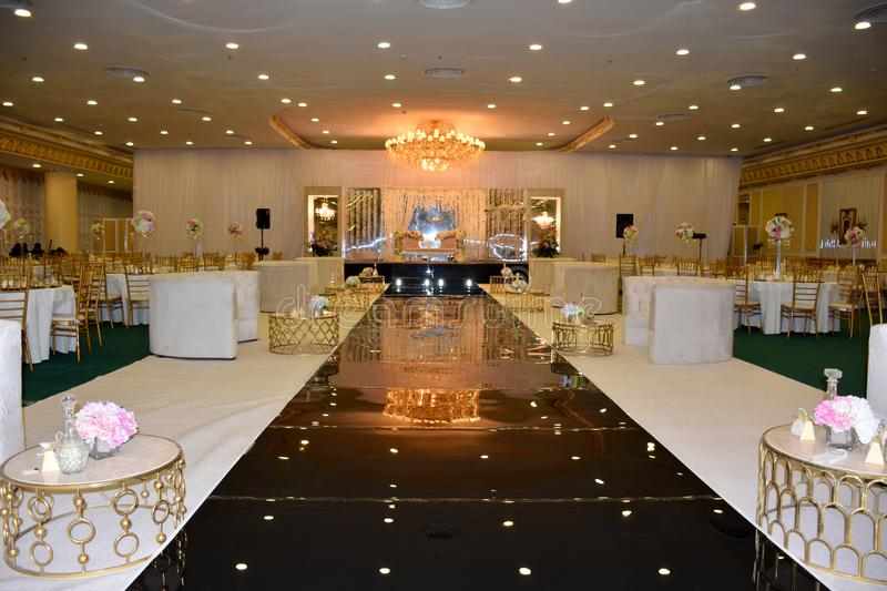 Banquet hall decorated for wedding party royalty free stock images