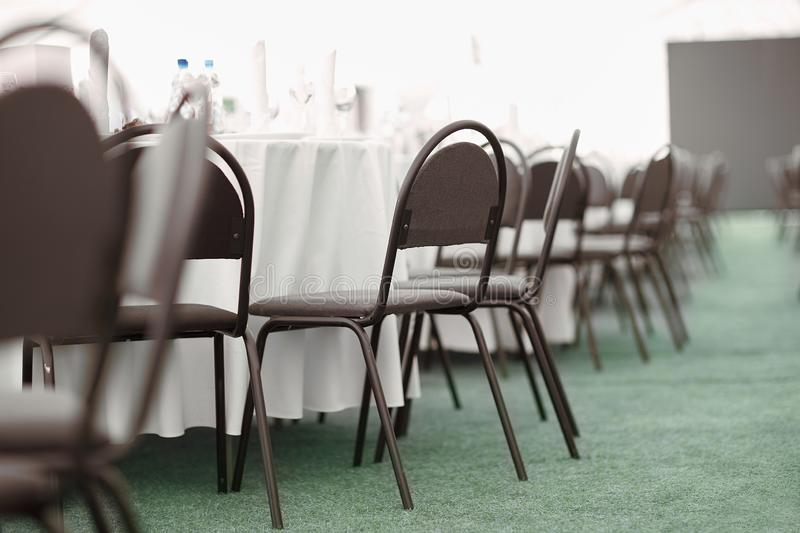 Banquet hall of a modern restaurant before the celebration. Banquet hall of a modern restaurant before the holiday stock photo