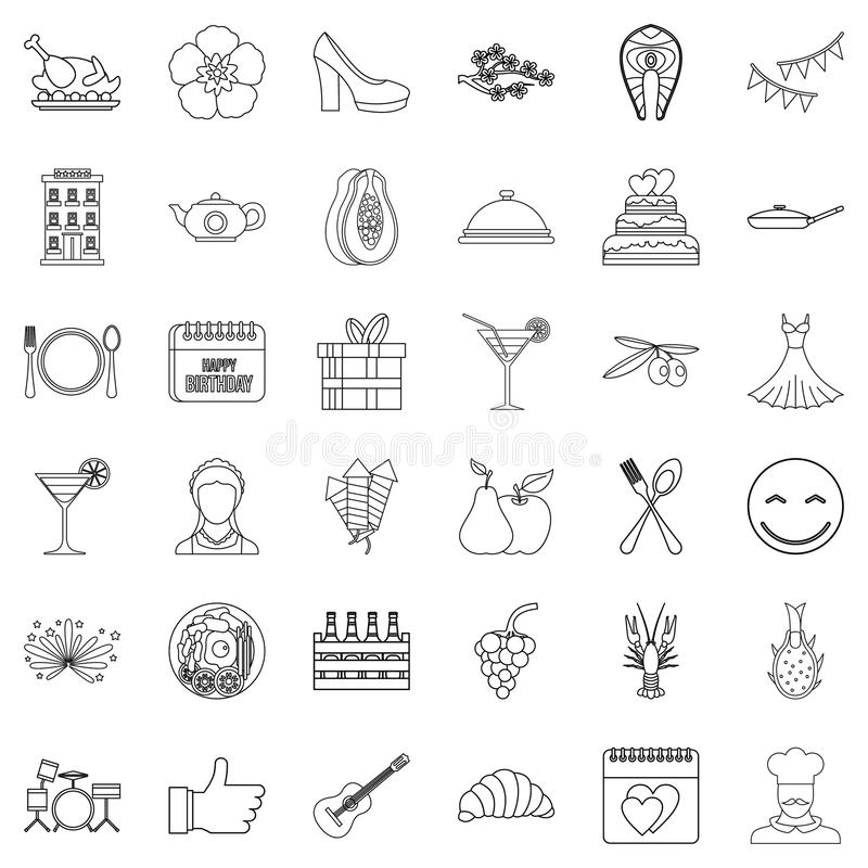 Banquet icons set, outline style vector illustration