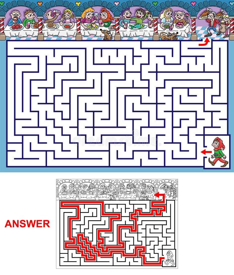 Banquet - labyrinthe pour des enfants illustration libre de droits
