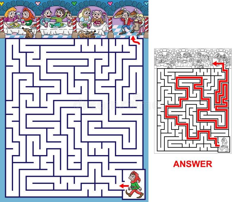 Banquet - labyrinthe pour des enfants illustration stock