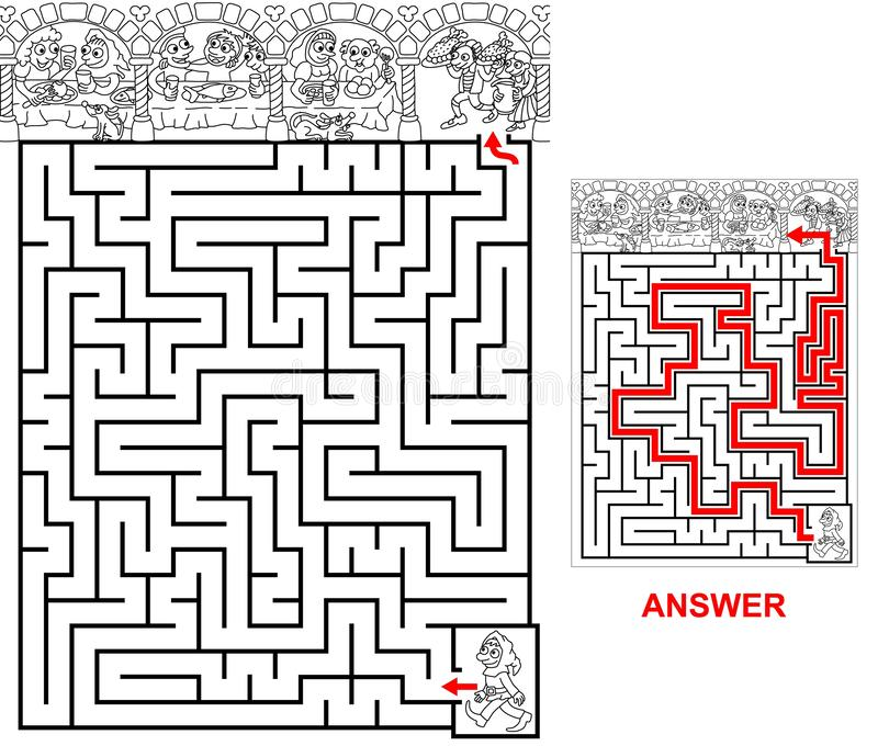 Banquet - labyrinthe pour des enfants illustration de vecteur