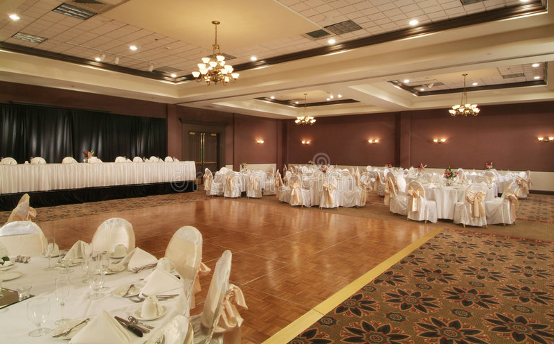 Banquet room. Decorated for a reception or event. Exit signs have been removed royalty free stock photography