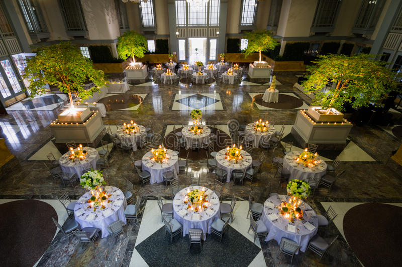 Banquet Set up in Huge Hall stock photography