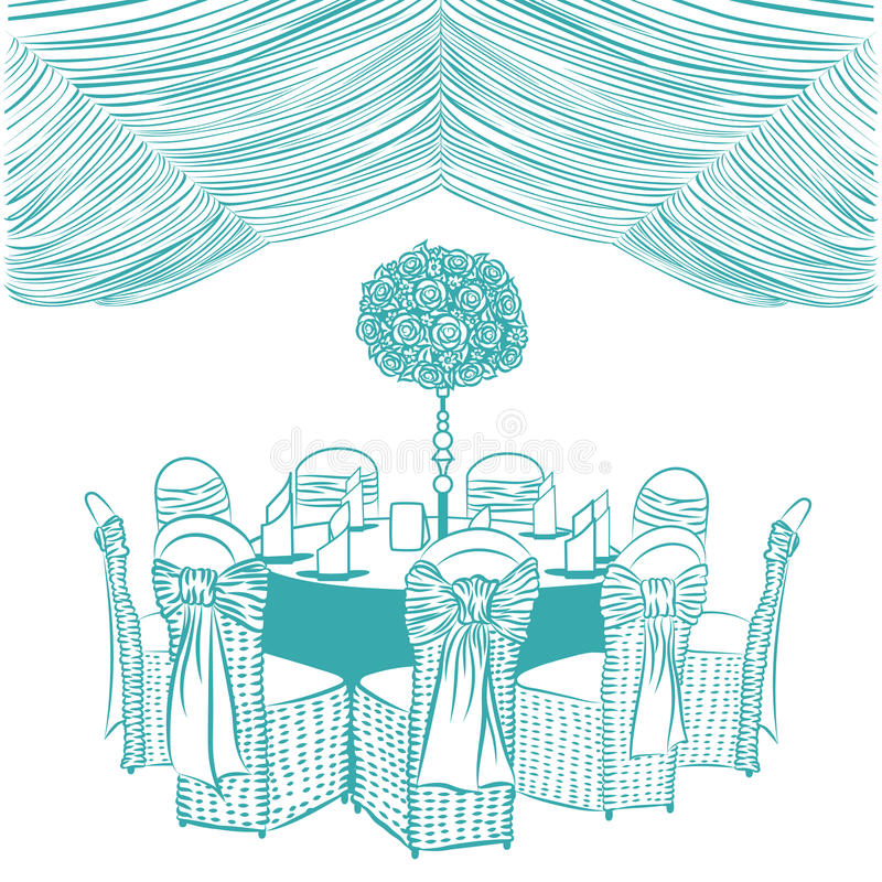 Banquet table with chairs. Decorated with fabric, ribbons and flowers stock illustration
