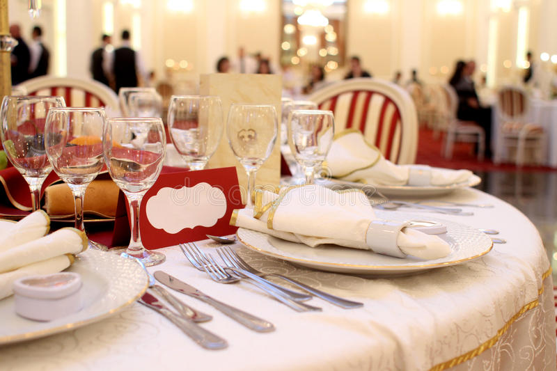 Banquet table setting royalty free stock photos
