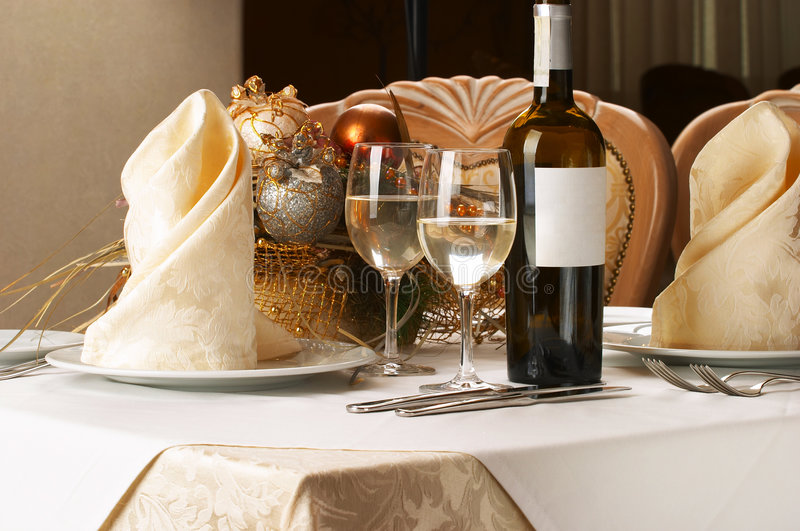 Banquet table setting stock image