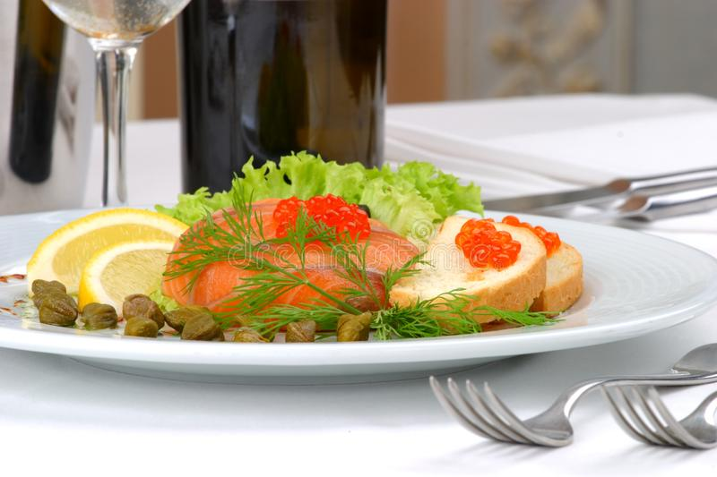 Banquet table setting seafoods royalty free stock images