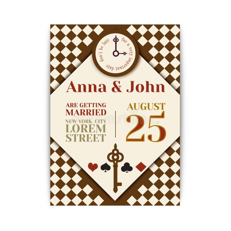 Banquete de casamento no país das maravilhas Salvar o convite Alice da data no tema do país das maravilhas molde do vetor para o  ilustração stock