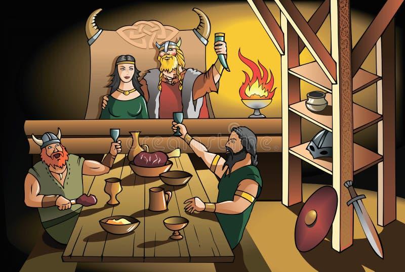 Banquete de Vikingos stock de ilustración