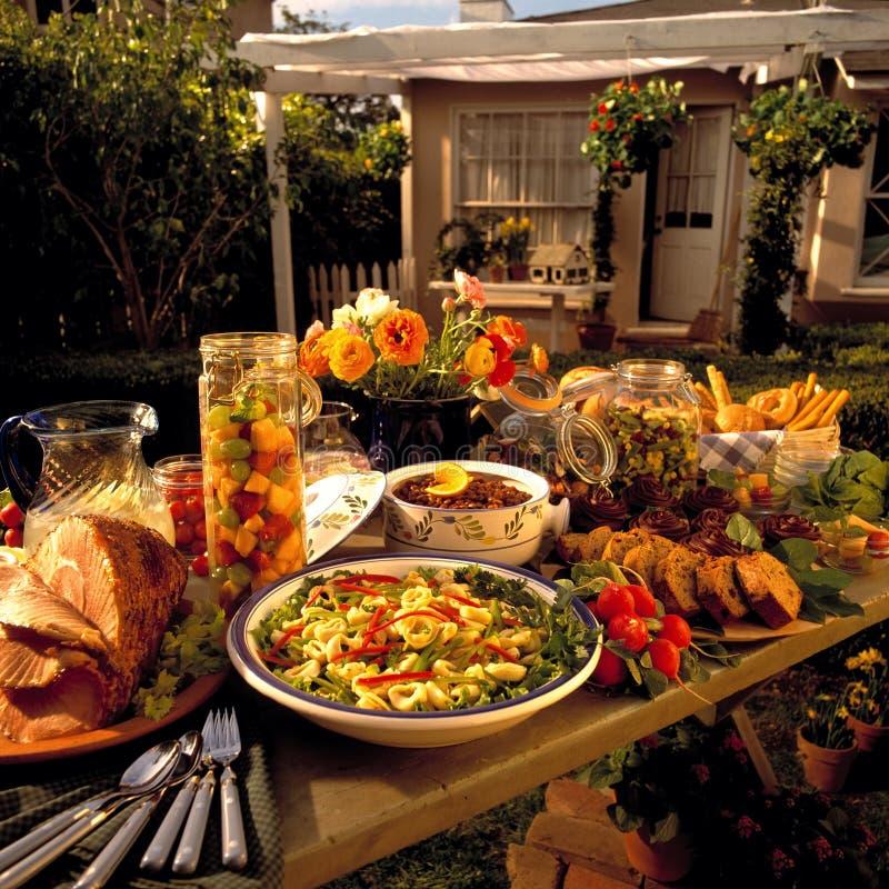 Banquete del patio trasero foto de archivo libre de regalías