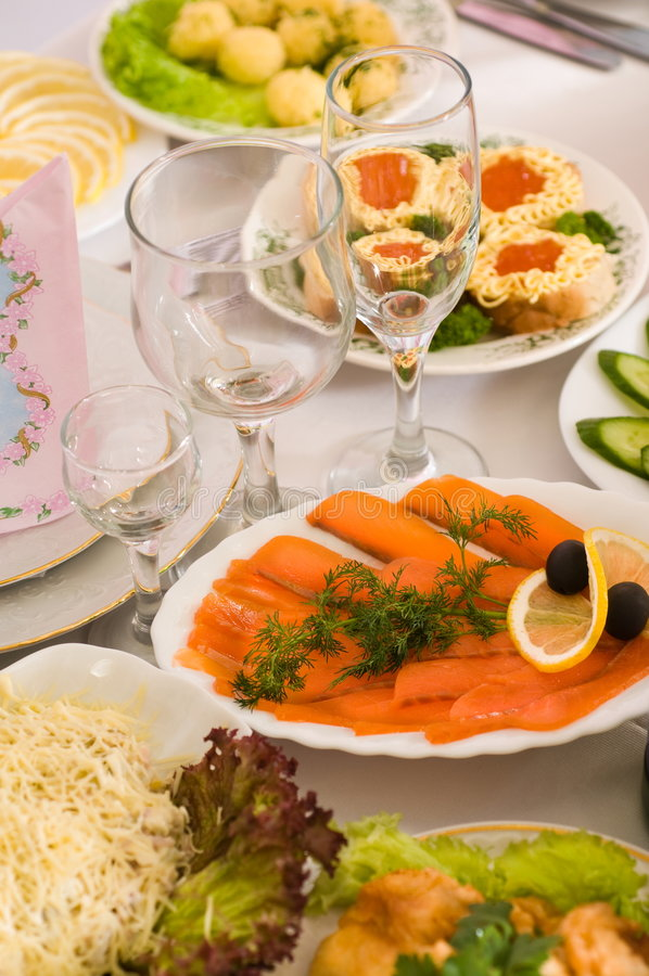 Banquete no café. imagens de stock