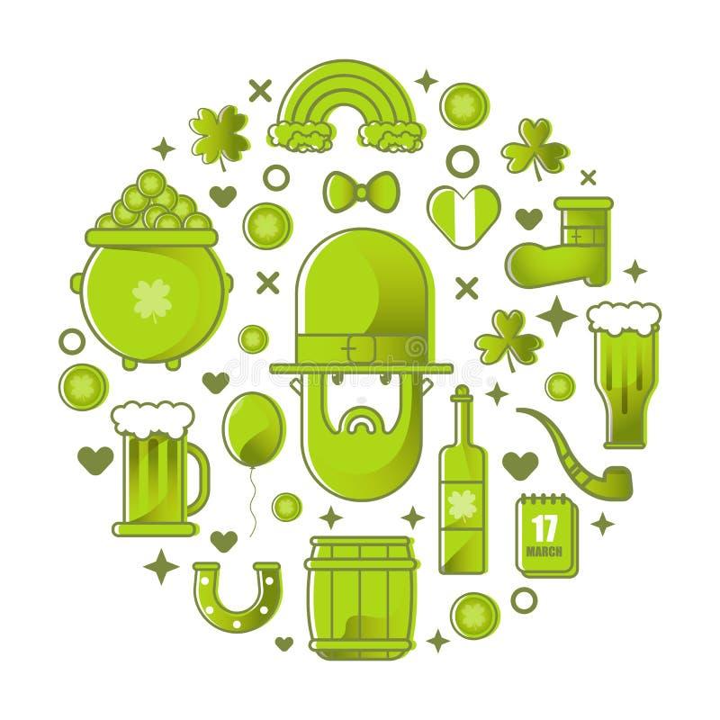 Banquete San Patricio Duende, cerveza y trébol, sistema plano del icono del vector Tarjeta para el día de St Patrick con el duend ilustración del vector