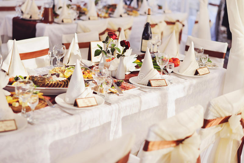 Banquete Wedding em um restaurante imagem de stock royalty free