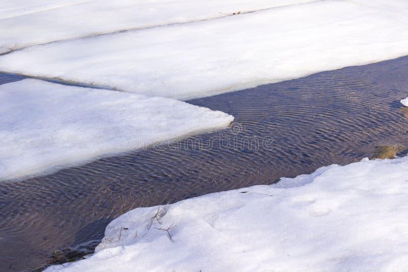 Banquisas de gelo no rio, ondinhas na água O começo da mola fotografia de stock royalty free