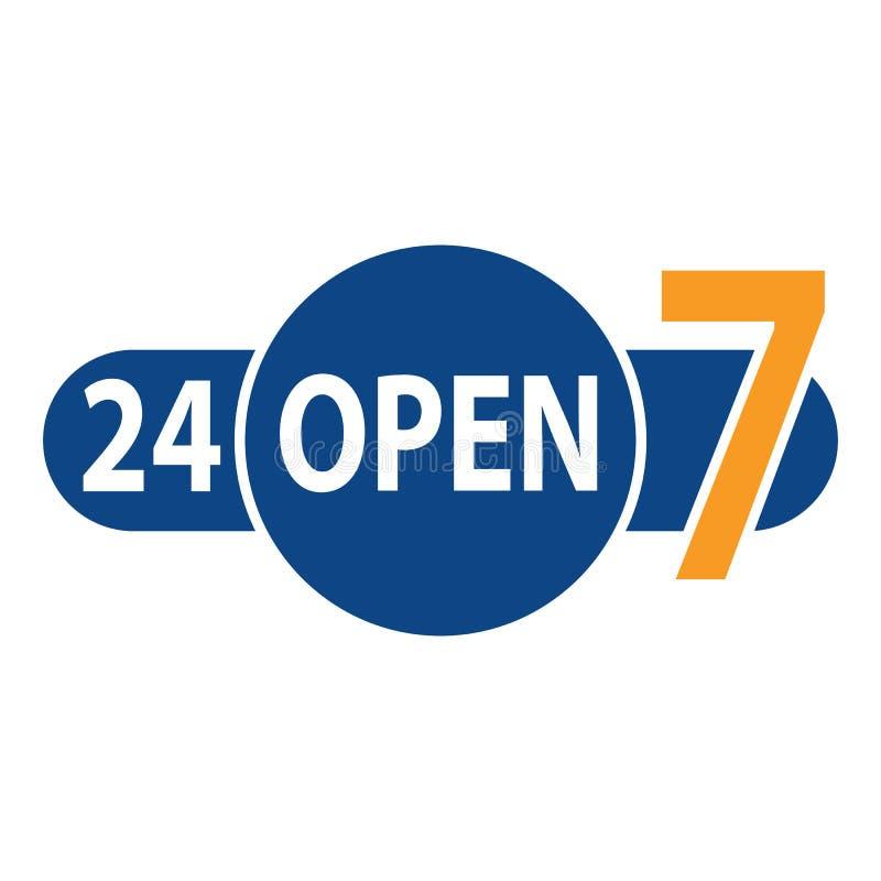 Banret öppnar 24 timmar 7 dagar Baner tjugofyra som är vår i mörkt - blå färg med text inom vektorn eps10 stock illustrationer