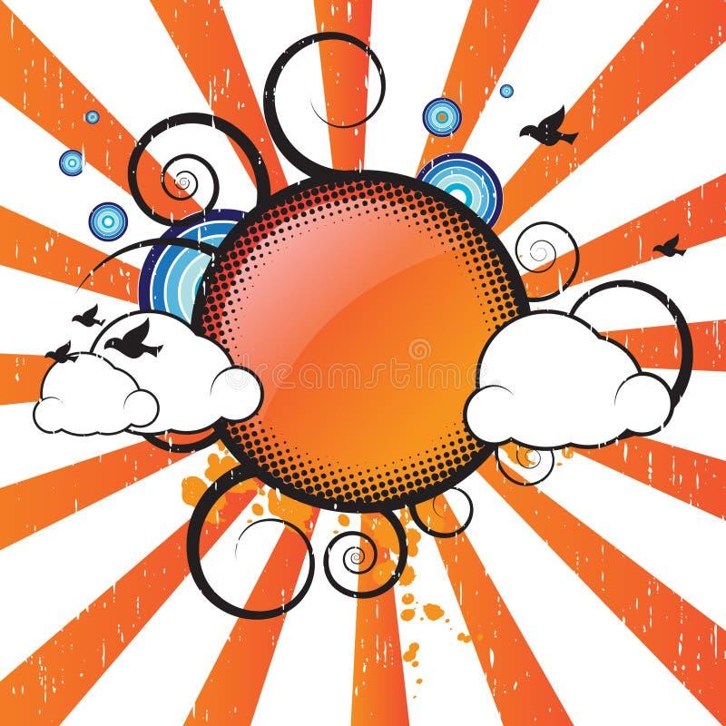 banret clouds retro stock illustrationer
