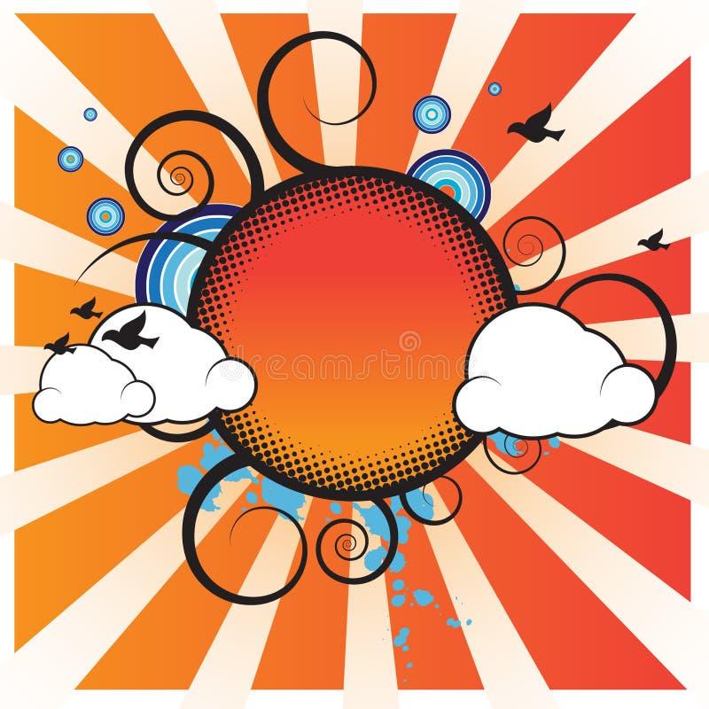 banret clouds retro royaltyfri illustrationer