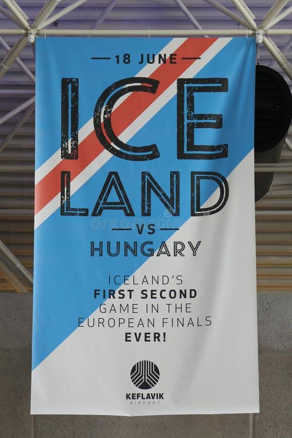 Banret för det Island fotbolllaget i minnet av eurokopp 2016 spelar arkivbild