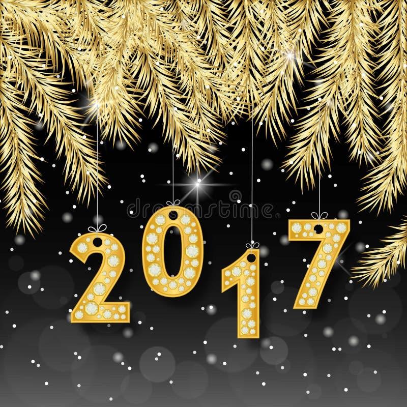 Banret 2017 för det lyckliga nya året med det guld- gran-trädet förgrena sig Rich, storgubbe, lyxig guld och svartfärger också ve stock illustrationer