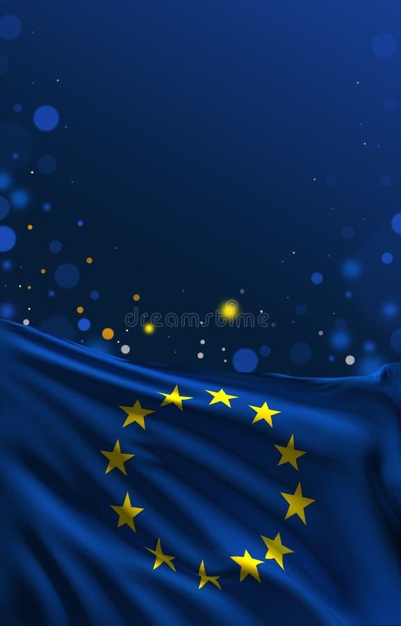 Banret för EU-flaggabakgrund, europeiska färger 3D framför stock illustrationer
