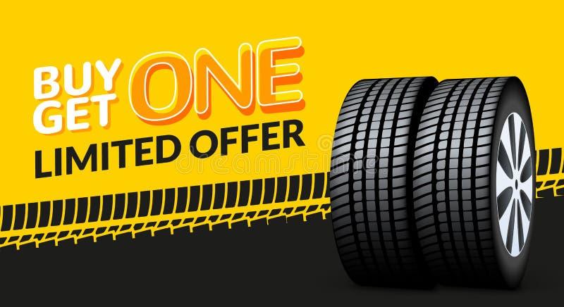 Banret för försäljningen för bilgummihjulet, köp 1 får 1 fri Bakgrund för promo för bildäckservicereklamblad Gummihjulförsäljning stock illustrationer