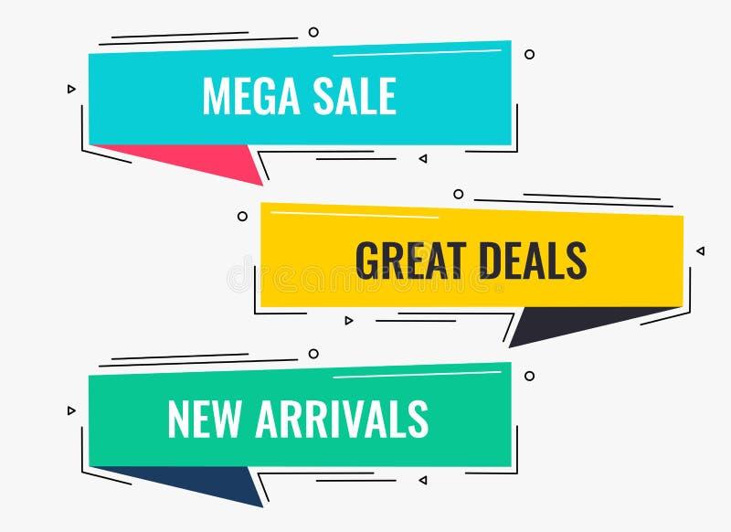 Banret för försäljningen och för rabatten för Memphis stillägenhet planlägger vektor illustrationer