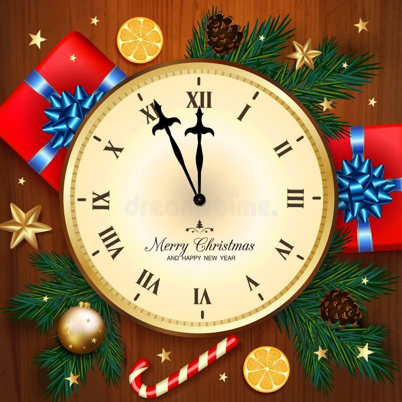 Banret för glad jul med klockan, gåvaasken, godisrotting, sörjer br vektor illustrationer