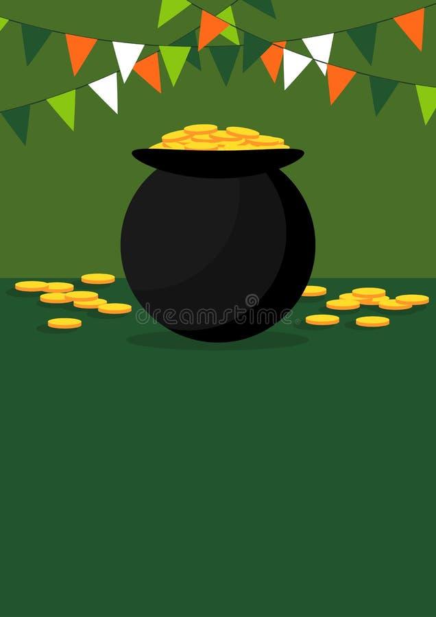 Banret för gräsplan för dagen för St Patrick ` s med guld fyllde kitteln royaltyfri illustrationer