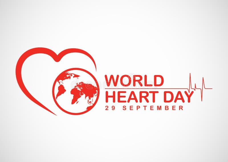 Banret för världshjärtadagen med den röda hjärta- och världsteckenvektorn planlägger vektor illustrationer