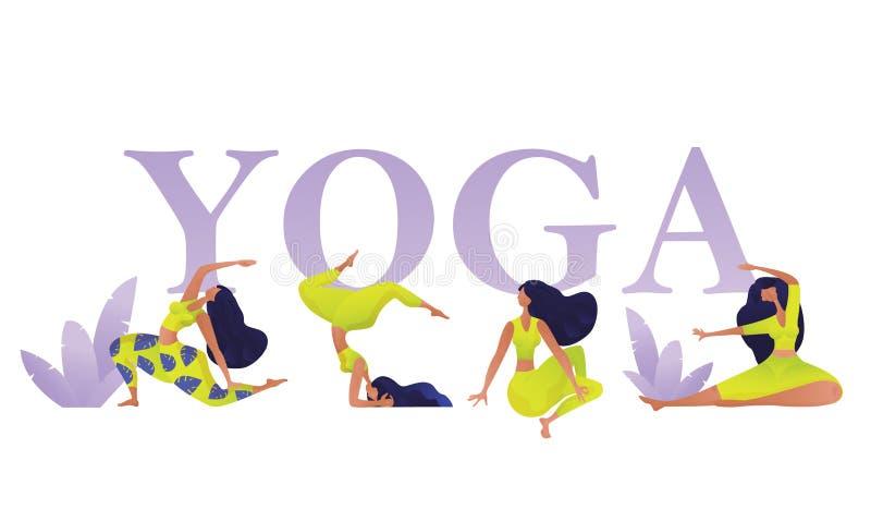 Banret för yogagruppbegreppet med kvinnadiagram i olikt poserar och asanas Sportdesignmall för inbjudan, affisch, broschyr stock illustrationer