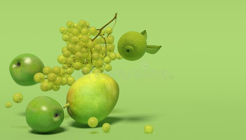Banret med gräsplan bär frukt på en grön bakgrund med fritt utrymme för text Sammansättning av grupper av druvor, äpplen, mango o arkivbilder