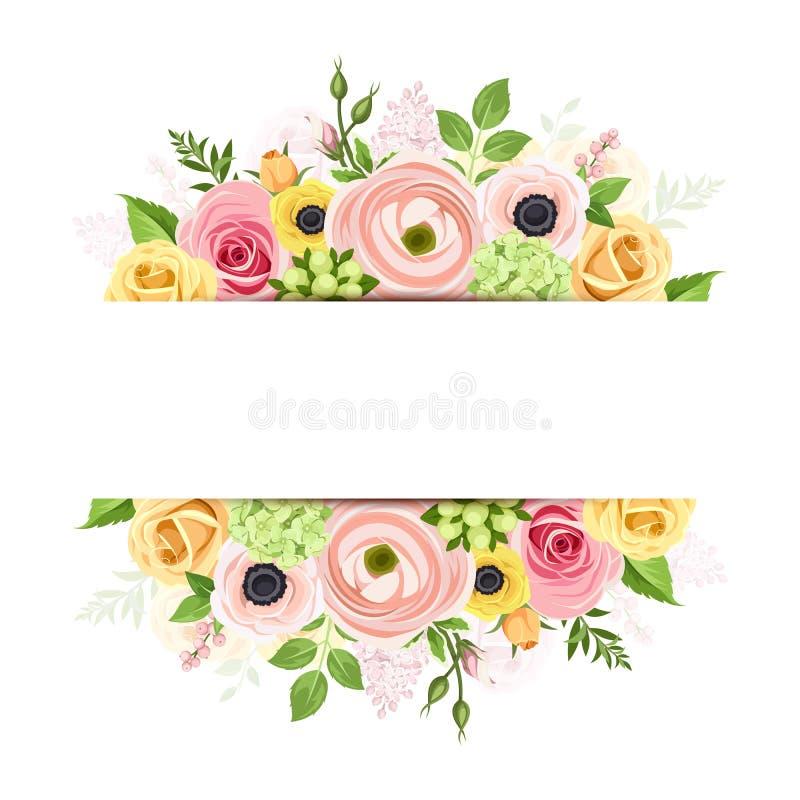 Banret med rosa färger, apelsinen och guling blommar Det kan vara nödvändigt för kapacitet av designarbete royaltyfri illustrationer