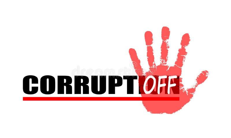 Banret med tecknet vänder av korruption stock illustrationer