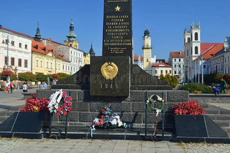 Banská Bystrica`s russian war memorial on the main square Slovakia stock photo