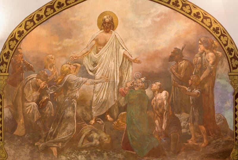 Banska Bela - fresko die van Christus in St John de Evangelistkerk helen door Jan Antal (1905) royalty-vrije stock foto