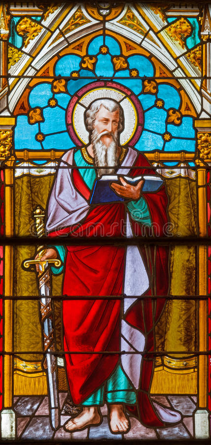 Banska Bela - The St. Pautl the Apostle on the windowpane of St. John the Evangelist church from end of 19. cent. stock photo