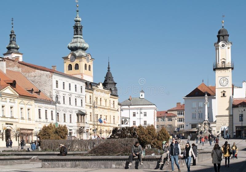 Banska Bystrica Sistani, Marzec, - 1, 2019: Główny plac Słowacki Krajowy powstanie w Banska Bystrica, środkowy Sistani, Europa zdjęcie royalty free