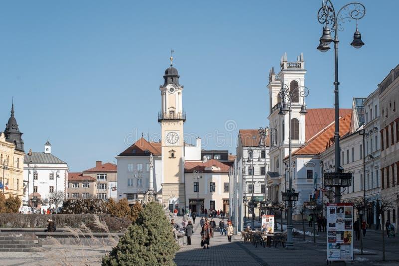 Banska Bystrica Sistani, Marzec, - 1, 2019: Główny plac Słowacki Krajowy powstanie w Banska Bystrica, środkowy Sistani, Europa zdjęcie stock