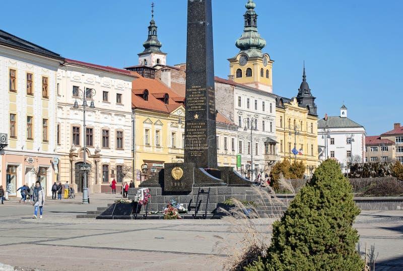 Banska Bystrica, Slovakia - March 1, 2019: Main square in Banska Bystrica, central Slovakia, Europe royalty free stock image